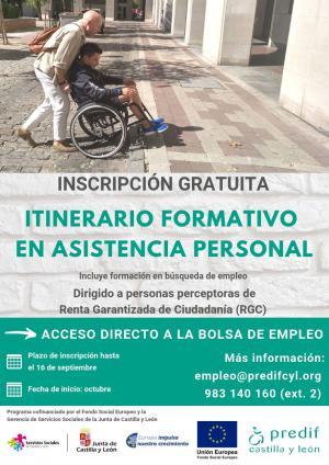 PREDIF CyL organiza una nueva formación en asistencia personal dirigida a perceptores de Renta Garantizada de Ciudadanía